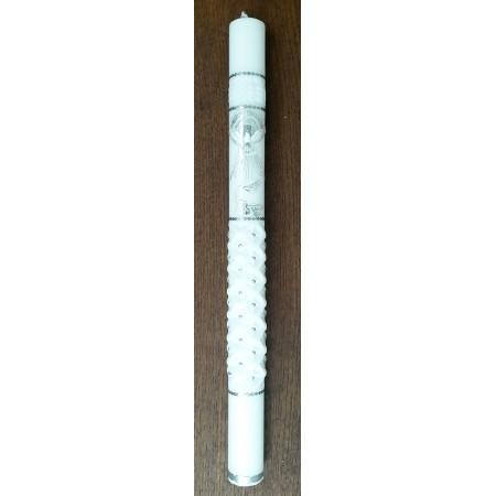 Krikšto žvakė su balandžiu sidabrinės dekoracijos