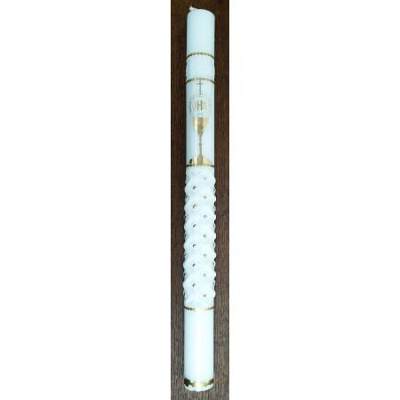 Krikšto žvakė su taure auksinės dekoracijos