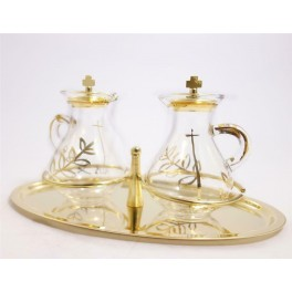 CATHOLIC GLASS AMPOULES FOR WATER AND WINE WITH TRAY SET from Italy